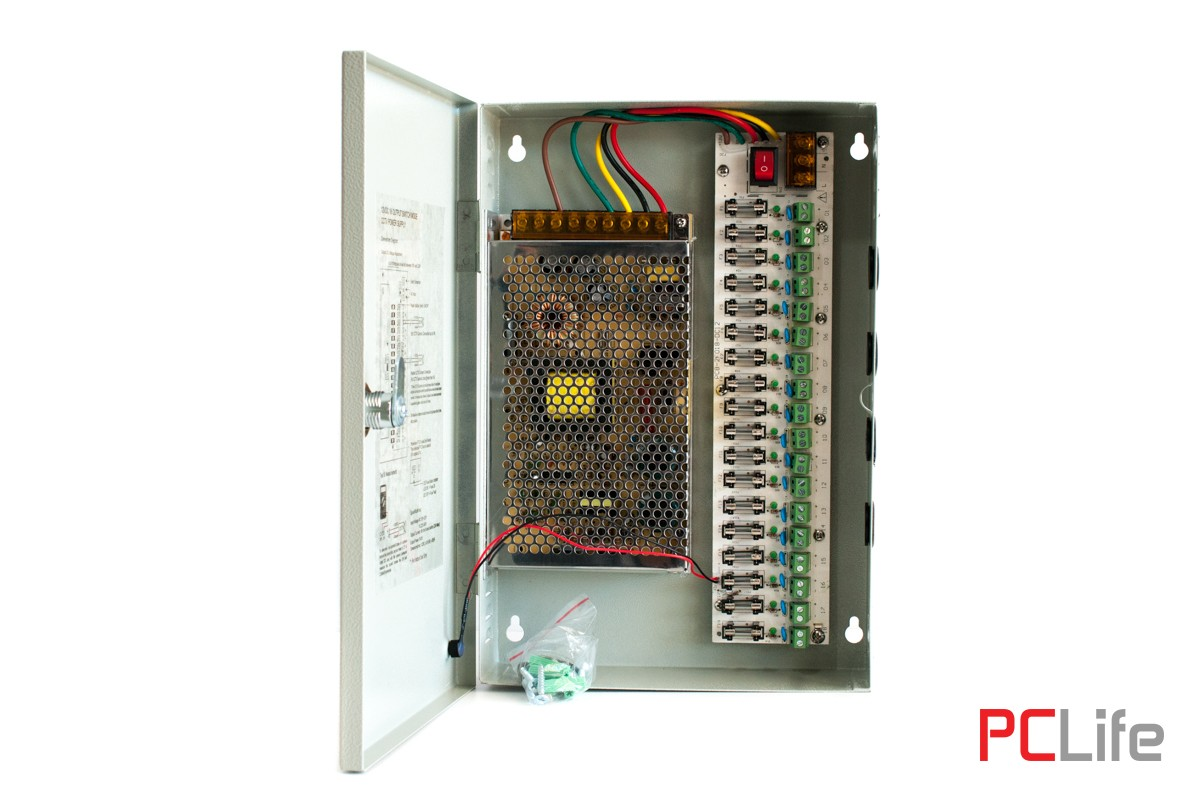 Захранване 12V20A - метална кутия/18 канала, подходящ за различни слаботокови системи