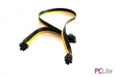 1х6pin Male to 2х8pin Male (6+2pin), 18AWG, дължина 50+20 см. - кабели