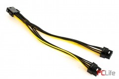 Преходник 1x 8pin Female - 2x8pin Male (6+2 pin) 18AWG,20 см